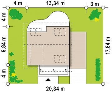 Вариант мансардного проекта Z146 c гаражом с правой стороны план помещений 1