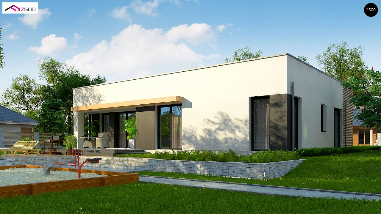 Современный комфортабельный одноэтажный дом с функциональным интерьером и уютной террасой. 5
