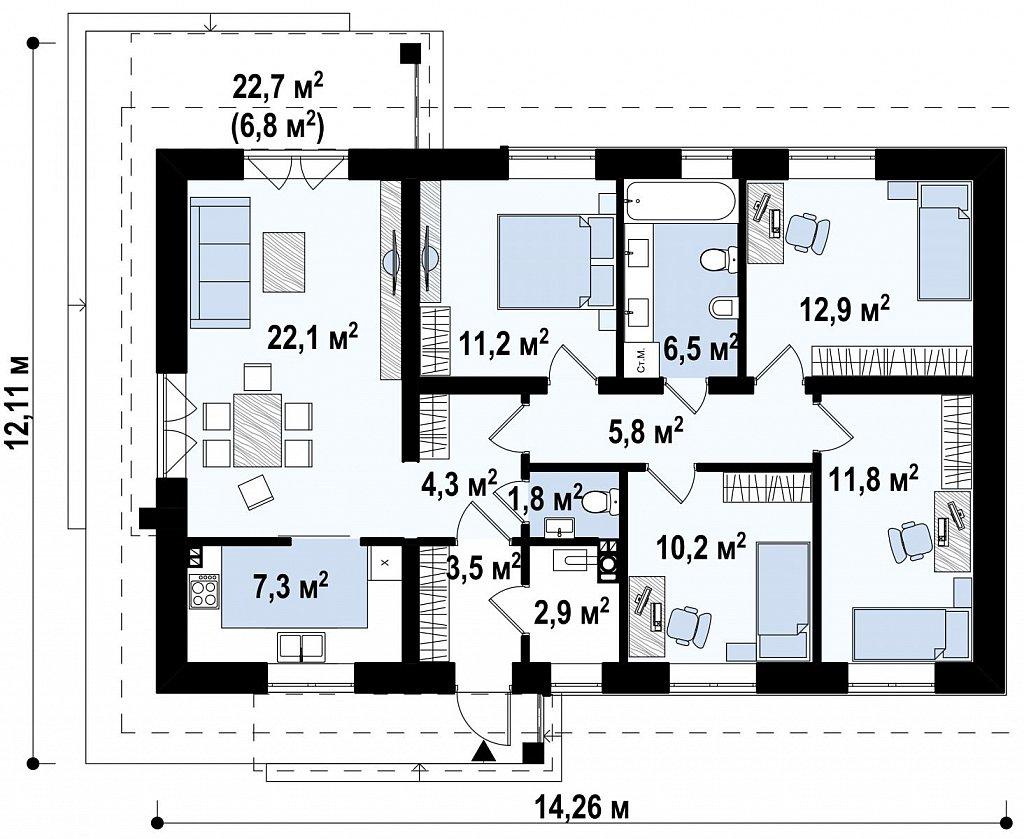 Классический одноэтажный дом с двускатной крышей план помещений 1