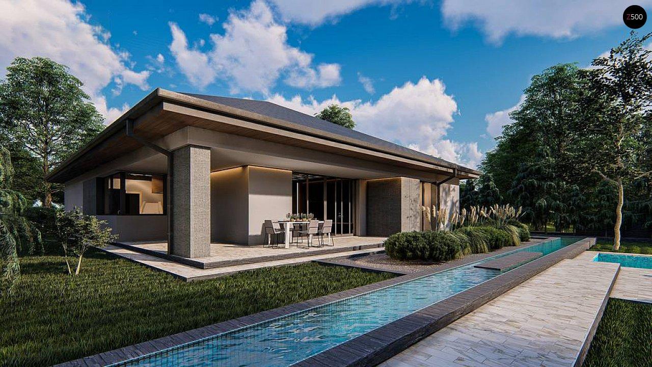 Современный одноэтажный проект дома с многоскатной крышей и гаражом на две машины - фото 1