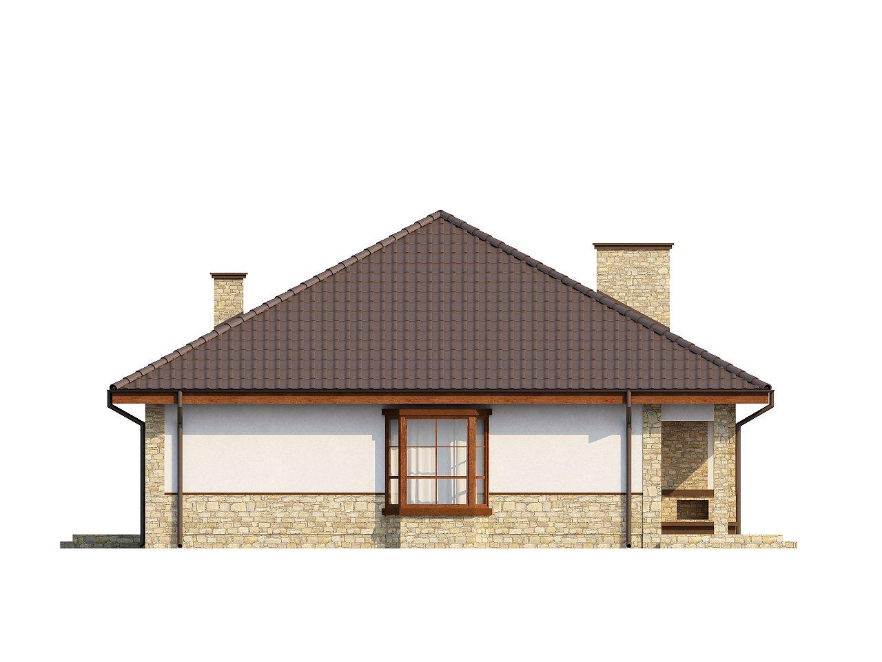 Одноэтажный дом с многоскатной кровлей, эркером и камином на террасе. - фото 24
