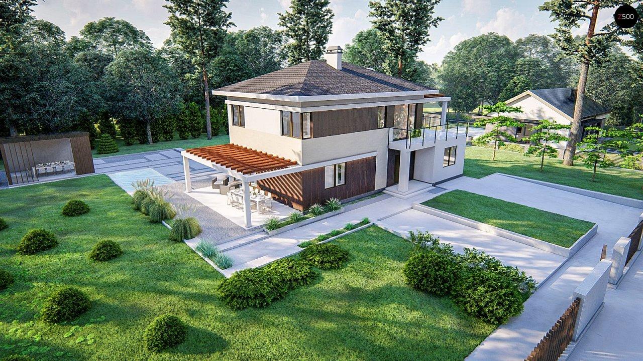 Современный двухэтажный проект дома с навесом - фото 5