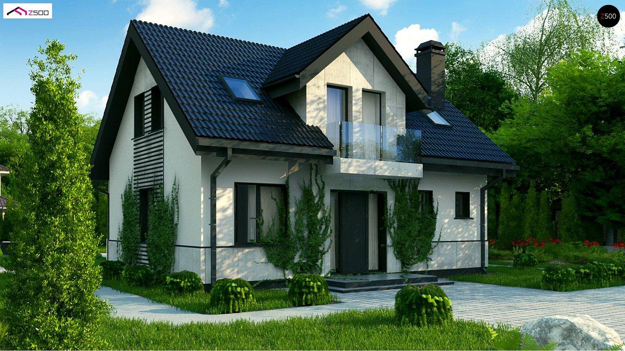 Простой в строительстве дом с балконом над входом. 1