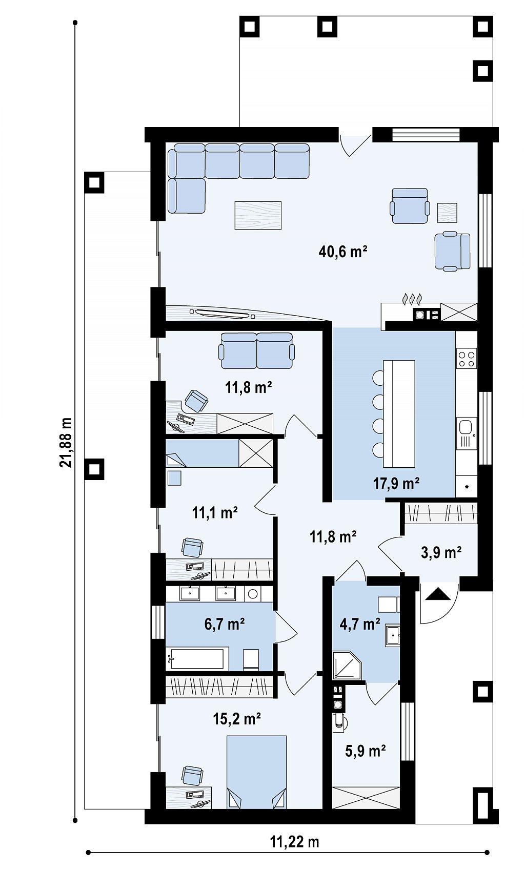 Проект для узкого участка без гаража с тремя спальнями план помещений 1