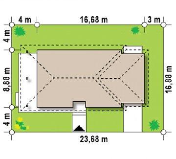 Уютный одноэтажный дом с гаражом на одну машину план помещений 1