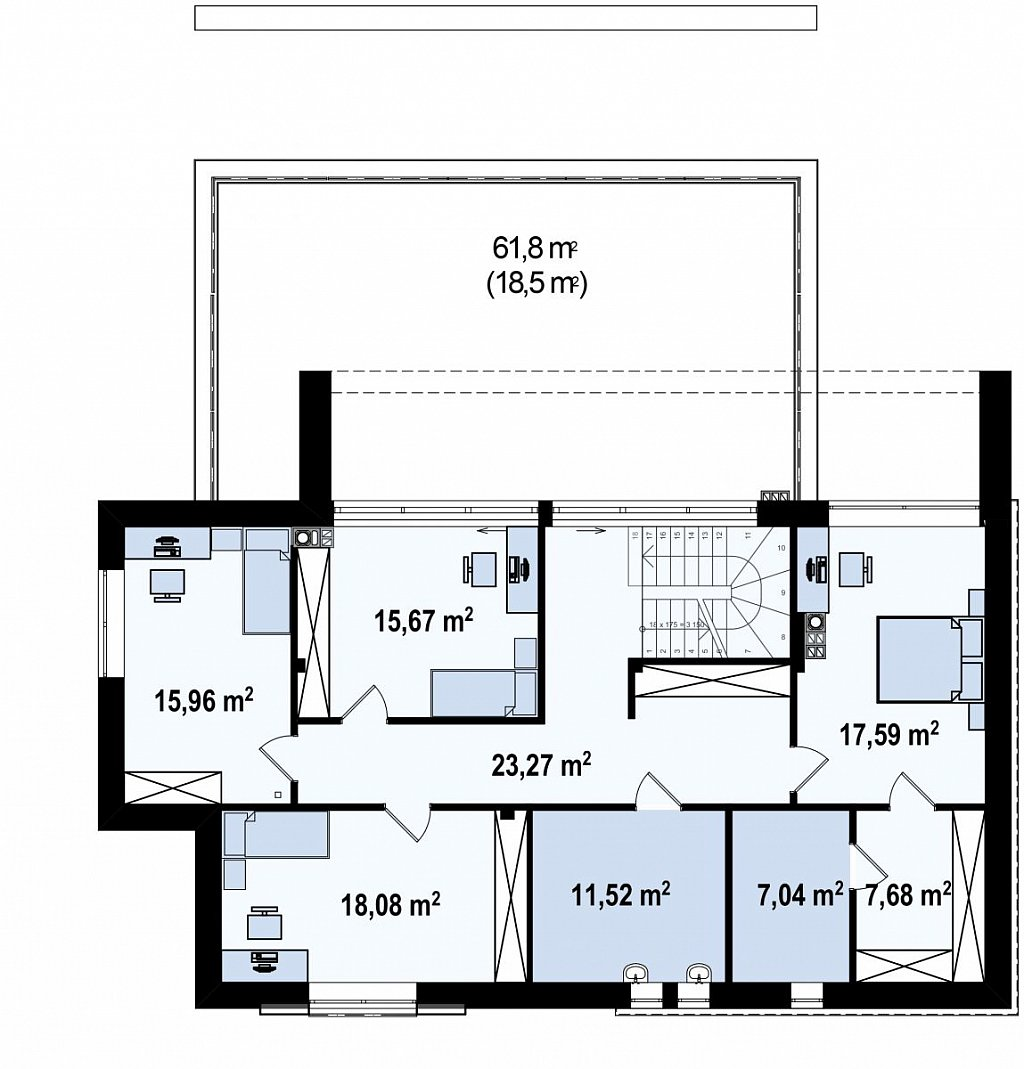 Двухэтажный коттедж с плоской крышей и большой террасой план помещений 2