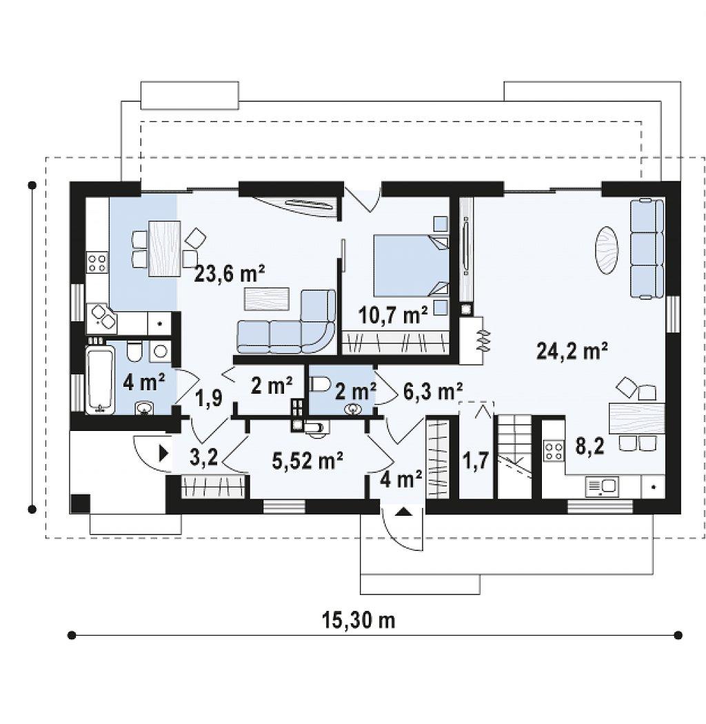 Функциональный удобный двухквартирный дом с отдельными входами в каждую из них. план помещений 1