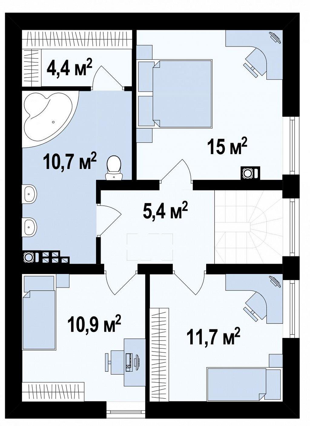 Выгодный в строительстве и эксплуатации двухэтажный дом простой формы. план помещений 2