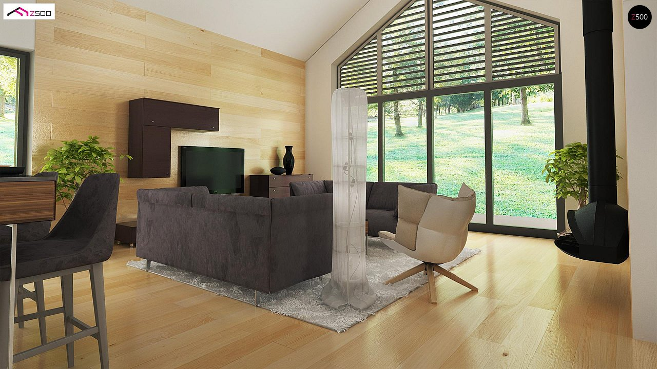 Стильный одноэтажный дом с панорамным остеклением в гостиной - фото 7