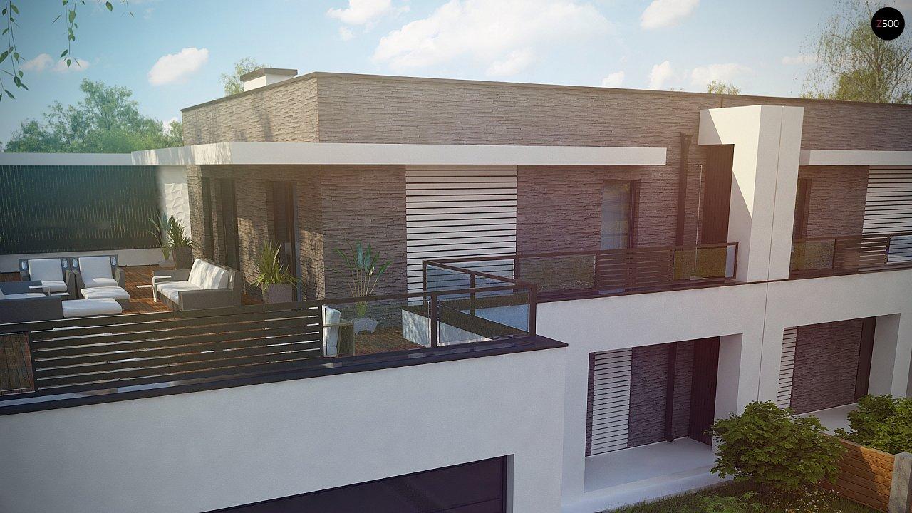Современный проект домов-близнецов с большим гаражом и террасой на втором этаже. 7