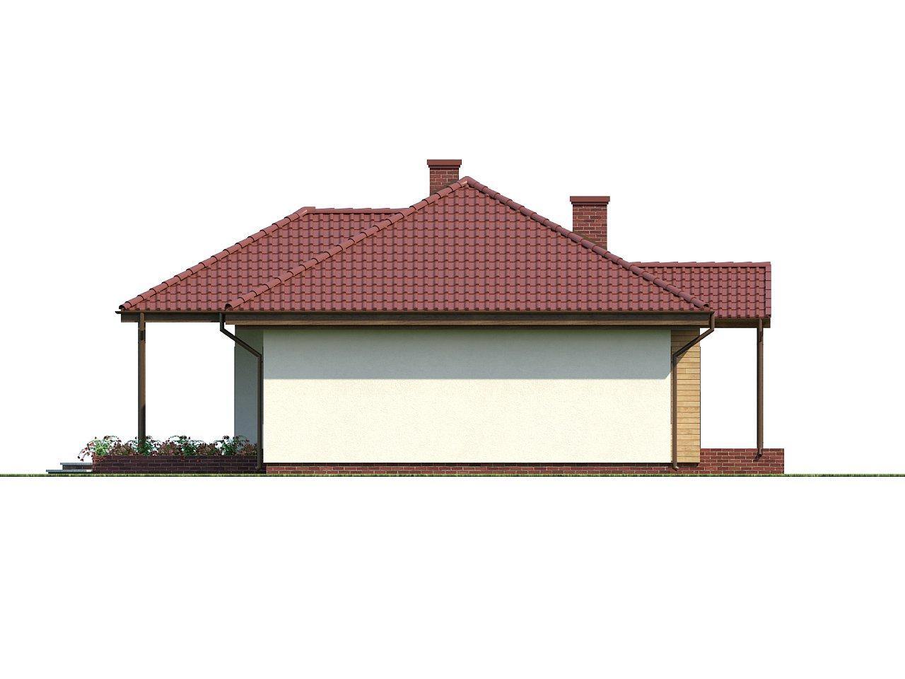 Симметричный одноэтажный дом с многоскатной кровлей. 6