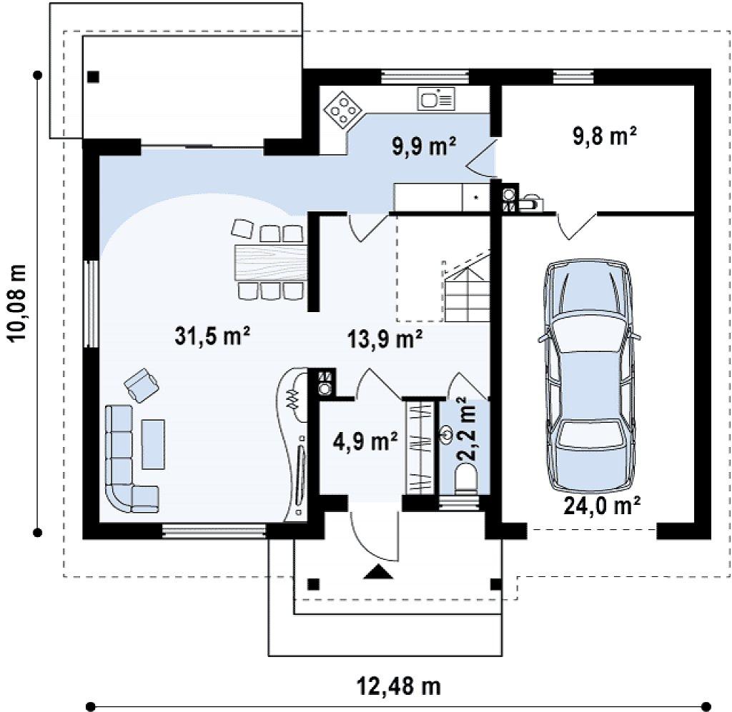 Проект традиционного дома с мансардой, со встроенным гаражом. план помещений 1