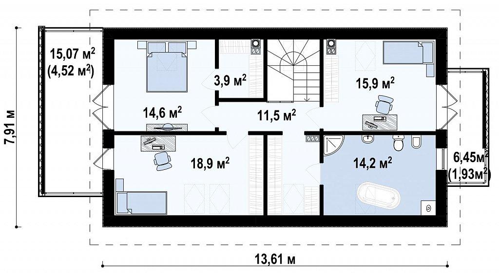 Практичный и уютный дом, идеально подходящий для вытянутого участка. план помещений 2