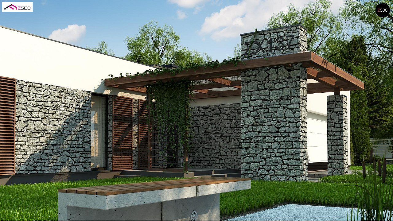 Современный одноэтажный дом с двойным гаражом и плоской крышей 3