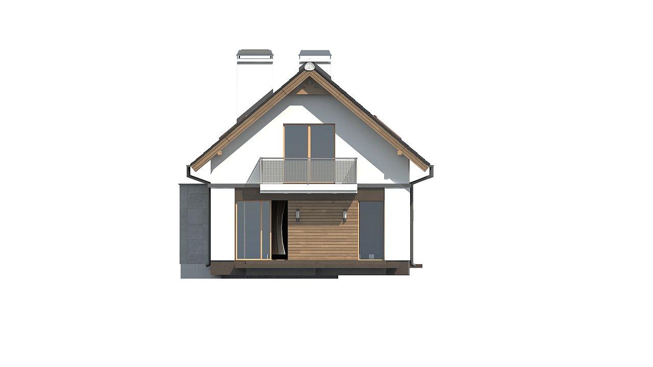 Практичный и уютный дом простой формы для узкого участка с террасой над гаражом. 5
