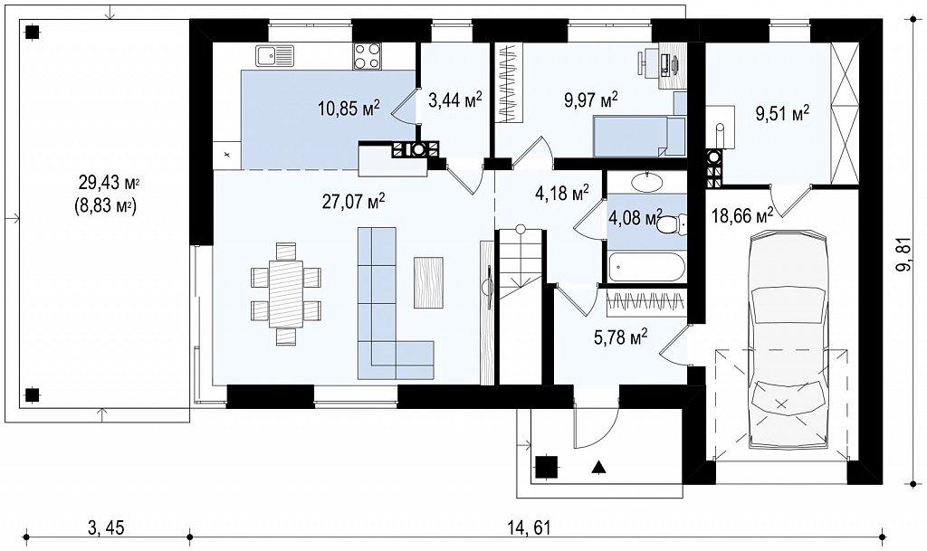 Проект двухэтажного дома Zx63 B + адаптированный под строительство в сейсмических районах план помещений 1
