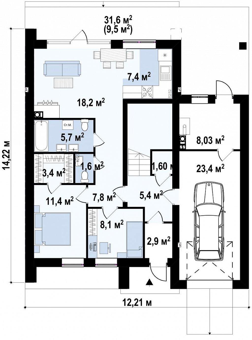 Современный дом с двускатной крышей и гаражом для одного пользователя план помещений 1