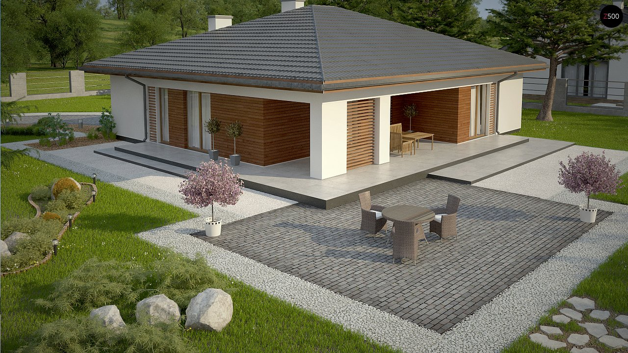 Стильный одноэтажный дом с комфортной крытой террасой 10