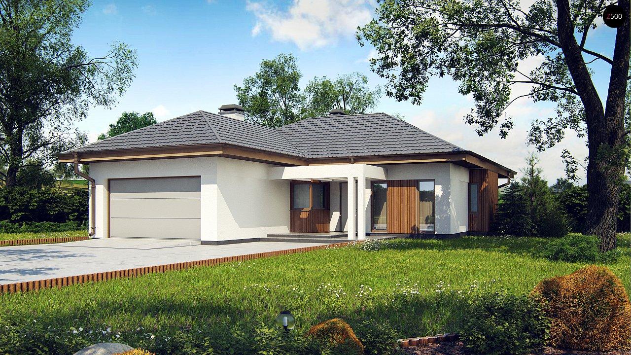 Одноэтажный дом с многоскатной крышей, с удобным функциональным интерьером. 1