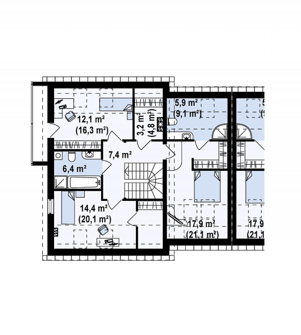 Простой и удобный дом для симметричной застройки с боковым гаражом. план помещений 2