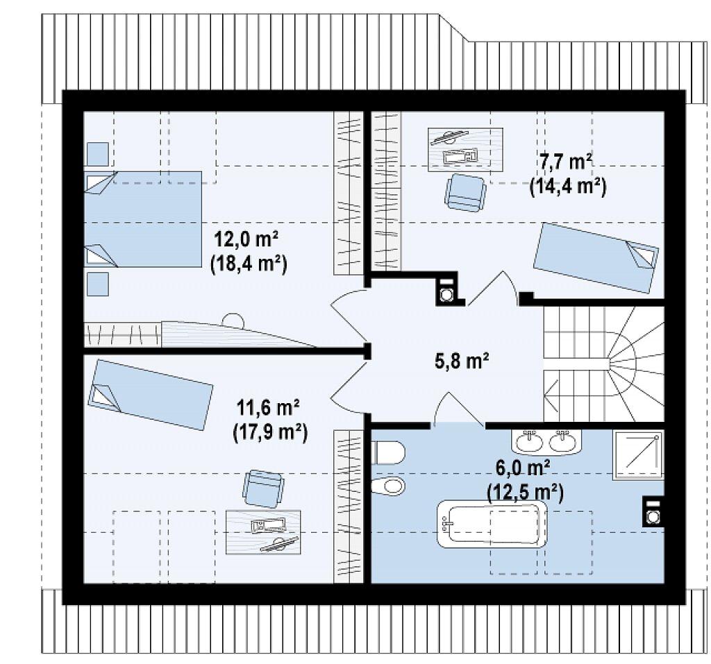 Выгодный и простой в строительстве дом с эркером в дневной зоне. план помещений 2