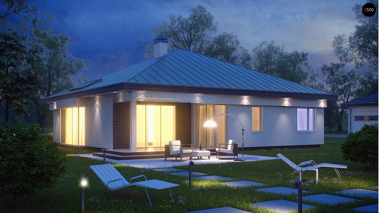 Удобный одноэтажный дом с гаражом для двух автомобилей, с большой площадью остекления в дневной зоне. 2