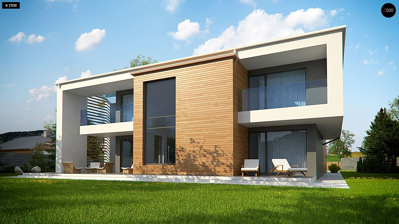 Современный двухэтажный дом с большим остеклением и гаражом на две машины 7