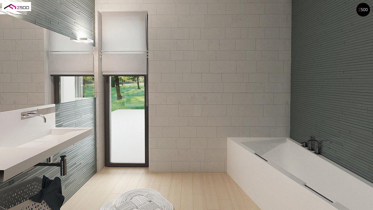 Проект одноэтажного дома Z390 с гаражом на 1 машину и красивым белым фасадом 15