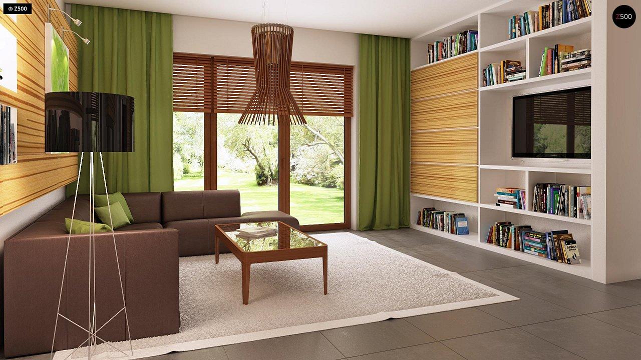 Проект одноэтажного практичного и уютного дома с крытой террасой. 3