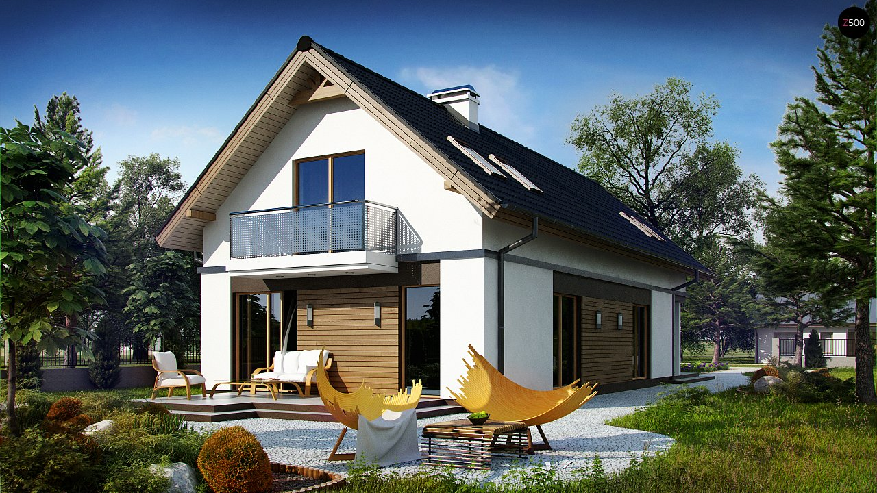 Практичный и уютный дом простой формы для узкого участка с террасой над гаражом. 2