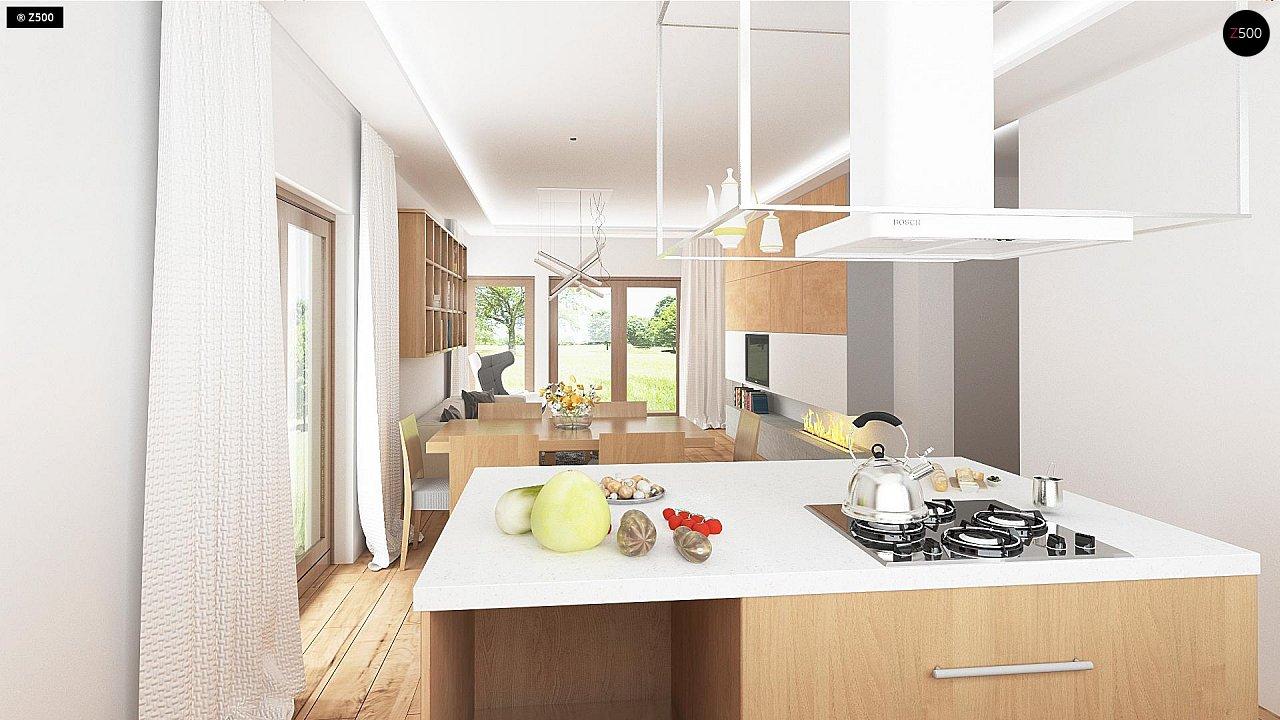 Проект одноэтажного дома с фронтальным выступающим гаражом и возможностью обустройства мансарды. 7