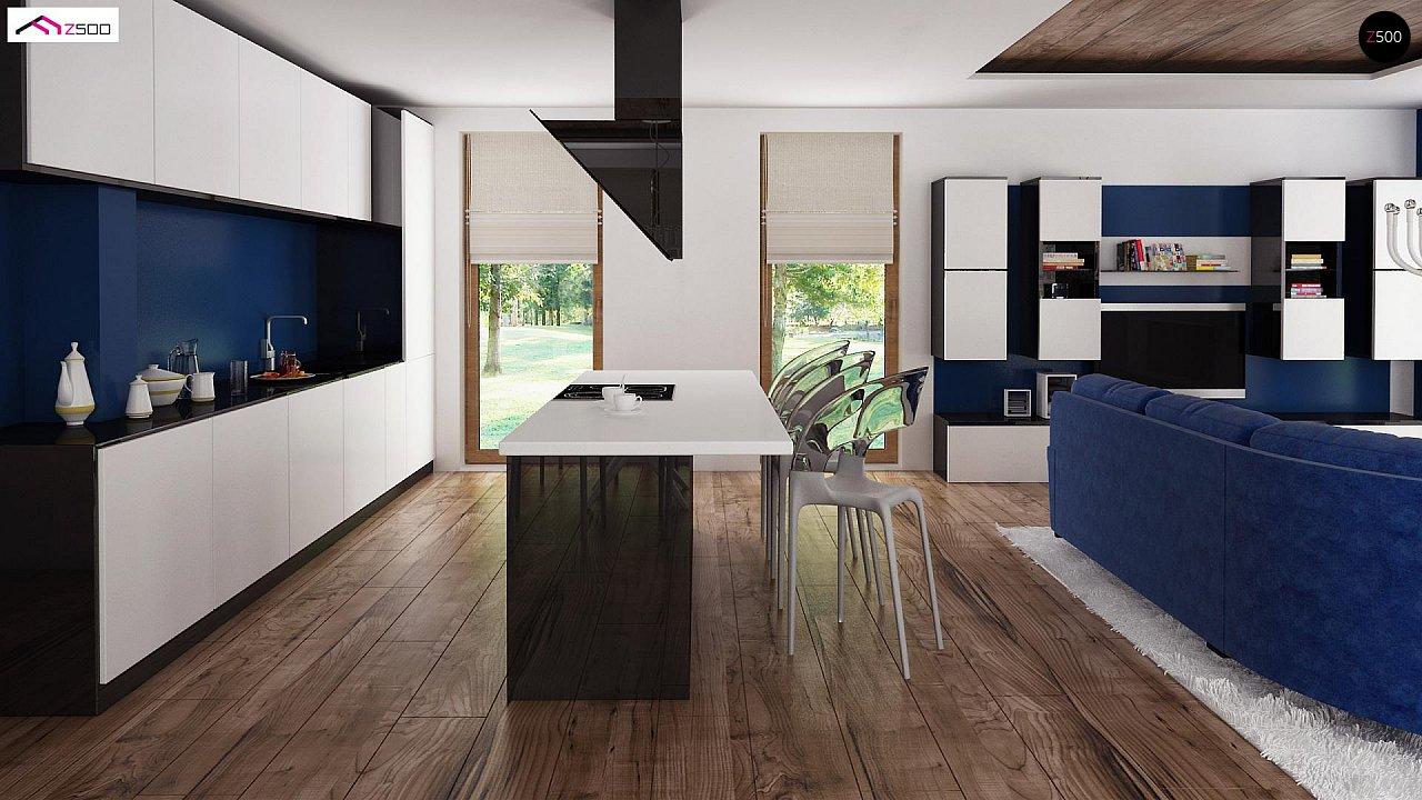 Проект удобного и красивого мансардного дома с гаражом на 2 машини и 3 спальнями. 4