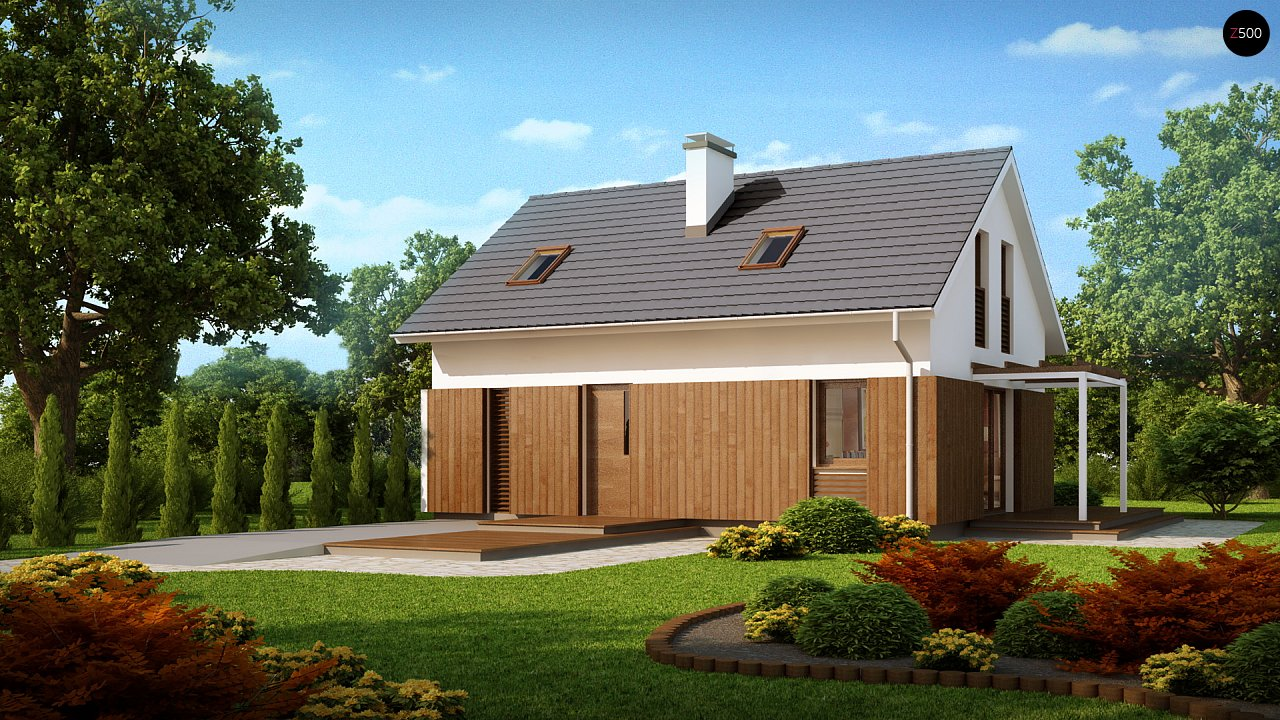 Проект дома в традиционном стиле с двускатной крышей. 3