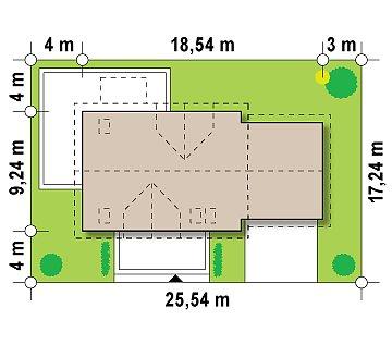Просторный функциональный дом с гаражом, красивыми мансардными окнами и дополнительной спальней на первом этаже. план помещений 1