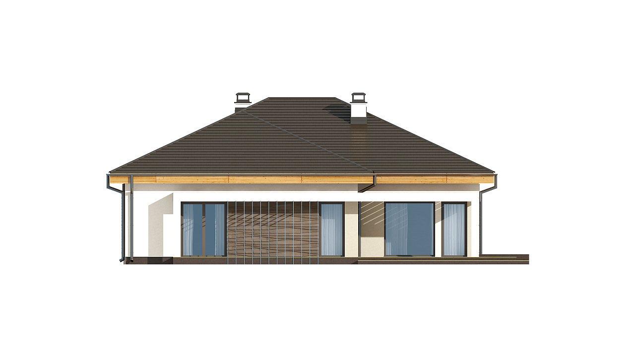 Проект одноэтажного дома с фронтальным выступающим гаражом и возможностью обустройства мансарды. 13