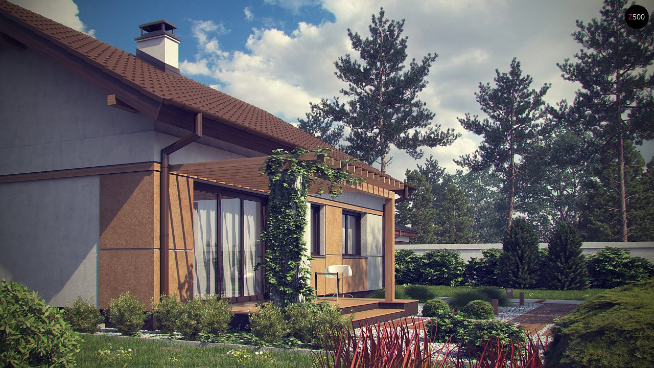 Компактный, уютный одноэтажный дом с двускатной крышей. 5