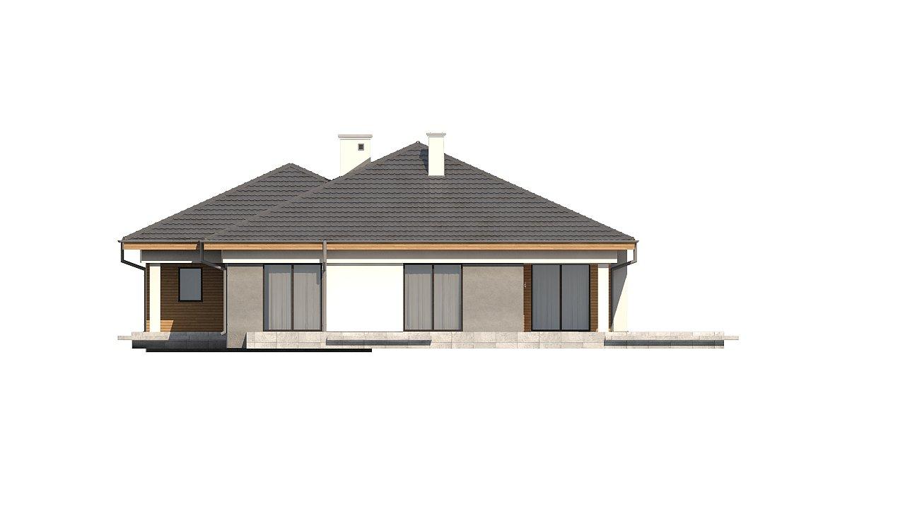 Одноэтажный просторный дом с эркером и крытой террасой. 16