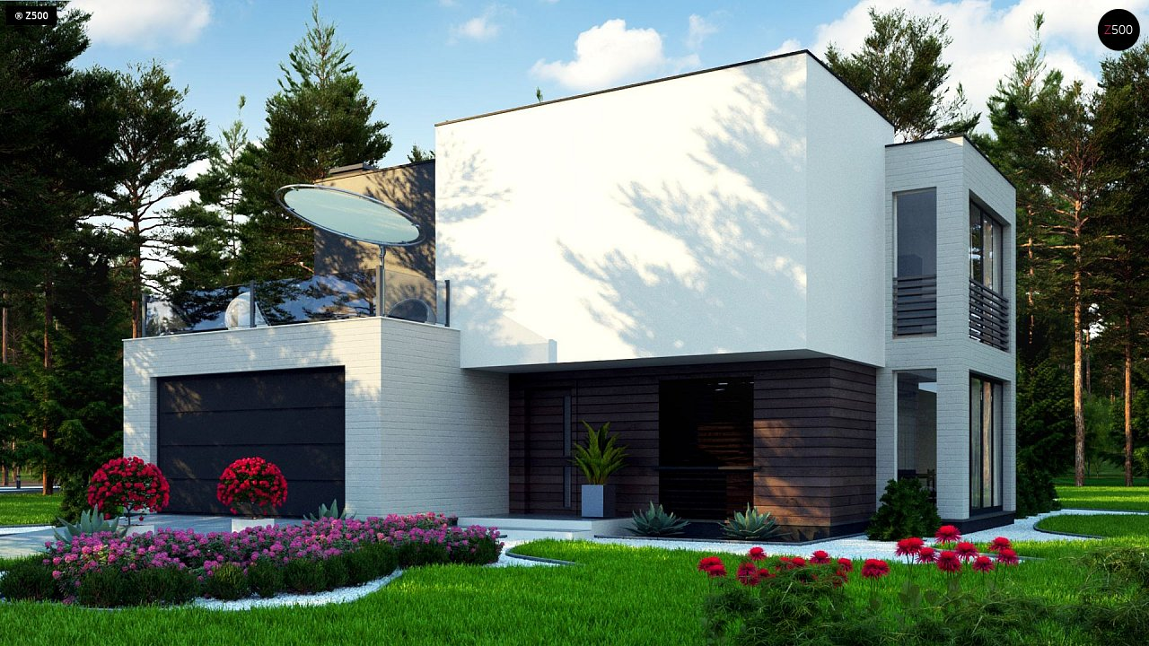 Двухэтажный дом в стиле минимализм - вариант проекта ZR 17 1