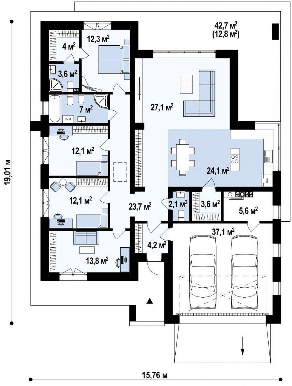 Современный одноэтажный проект дома с многоскатной крышей и гаражом на две машины план помещений 1