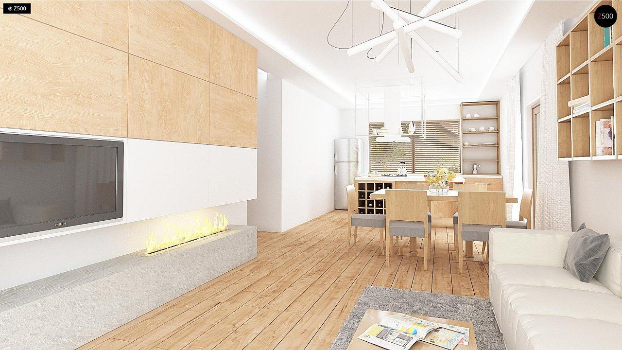 Проект одноэтажного дома с фронтальным выступающим гаражом и возможностью обустройства мансарды. 5