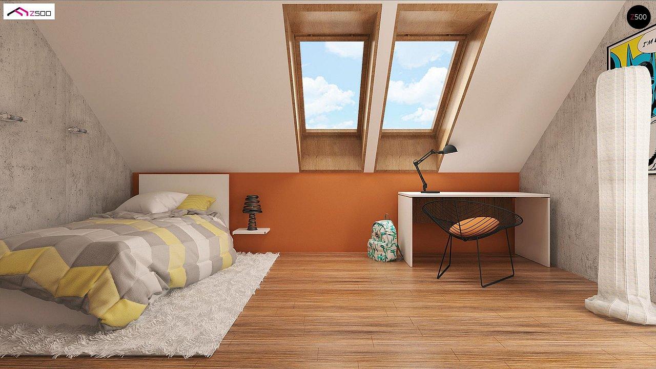 Элегантный дом простой формы со встроенным гаражом, эркером и балконом над ним. 8