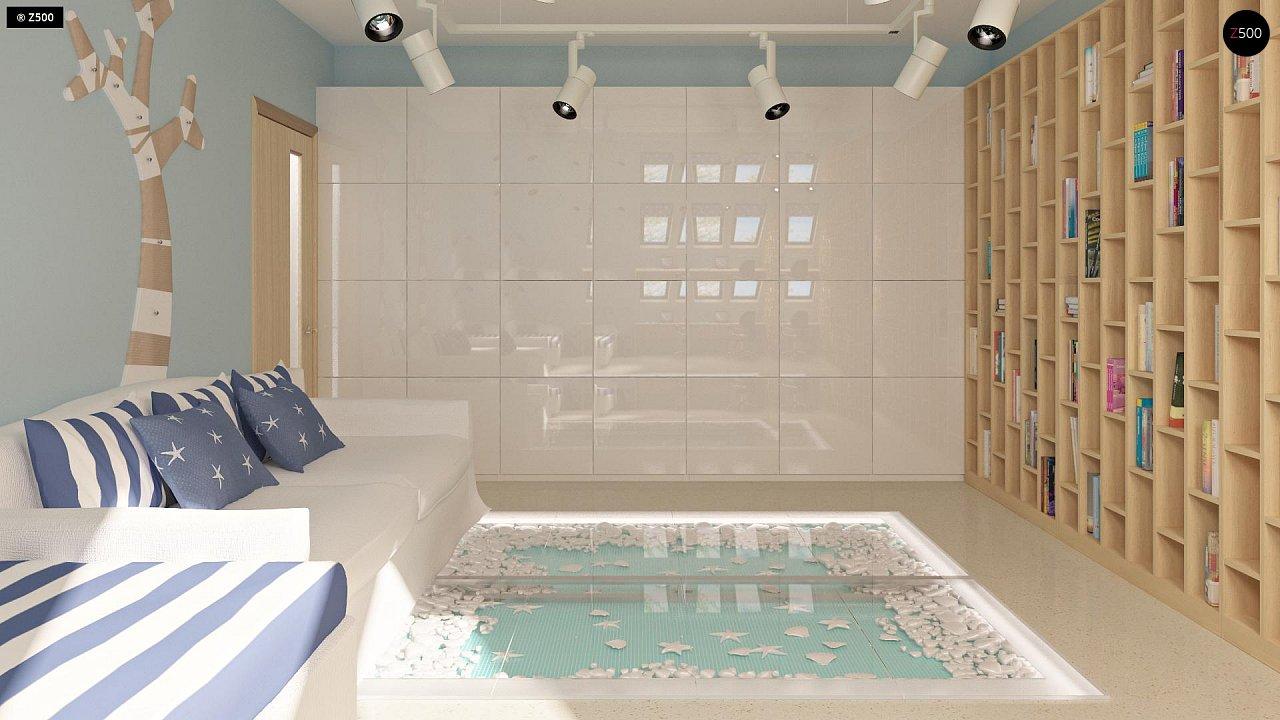 Проект функционального дома с эркером в столовой дополнительной спальней на первом этаже. 13