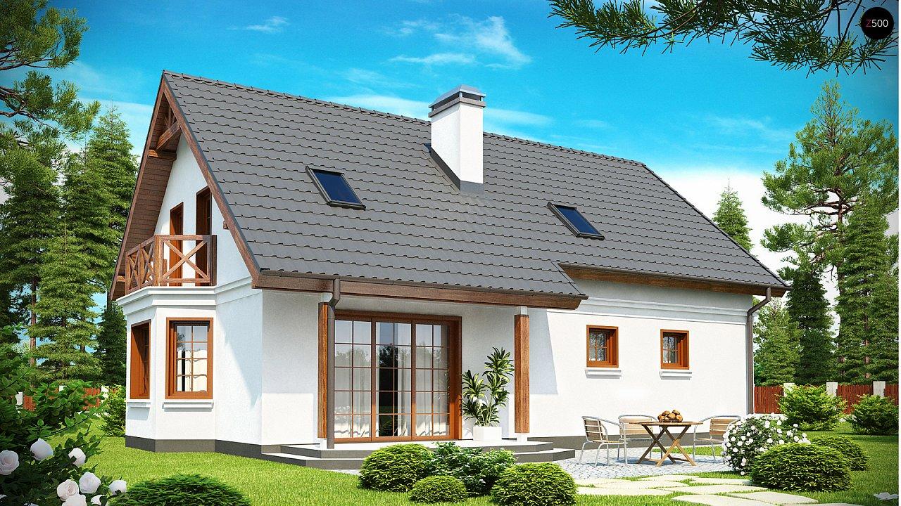 Элегантный дом простой формы со встроенным гаражом, эркером и балконом над ним. 2