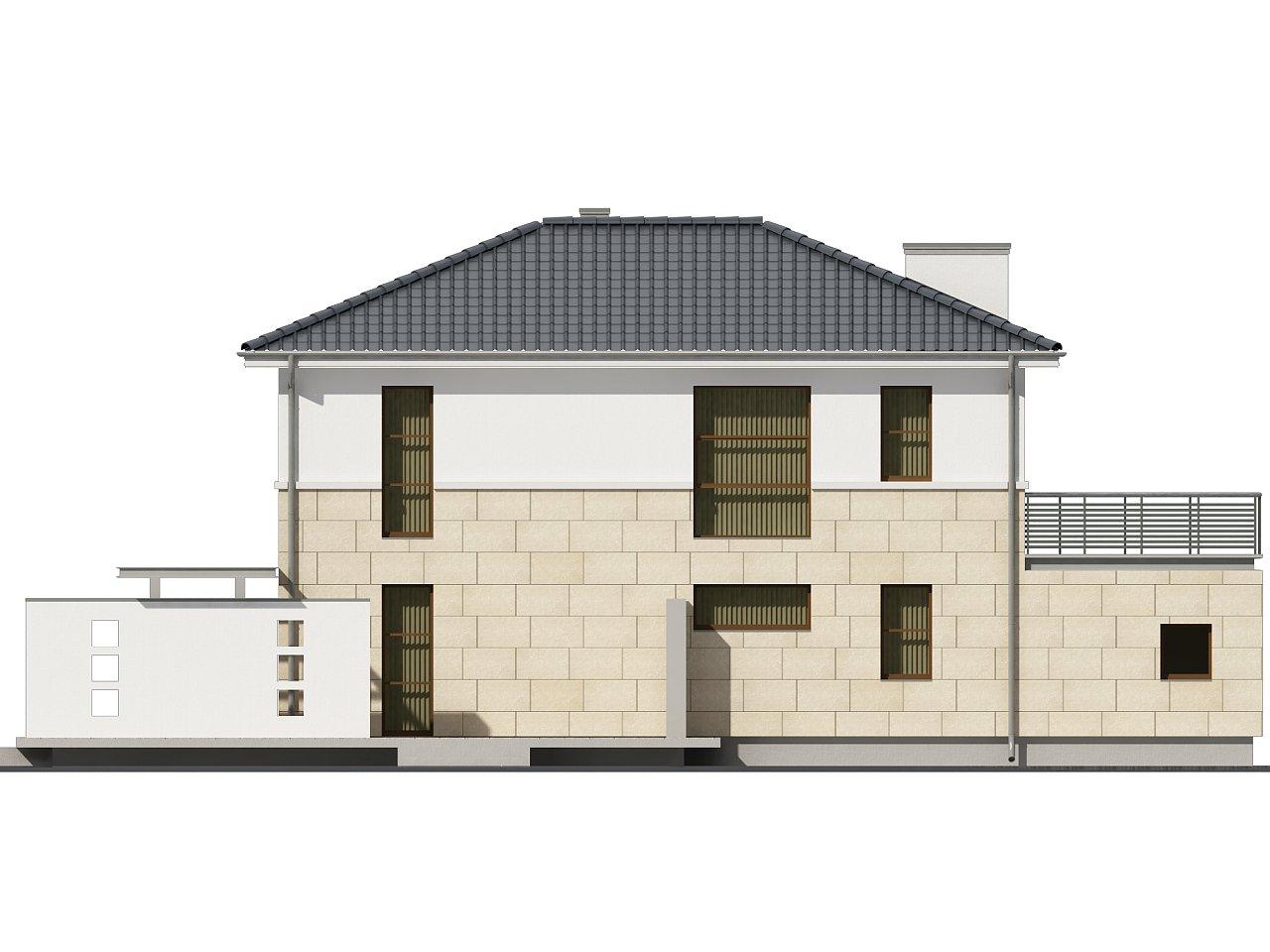 Современный двухэтажный дом простой формы с террасой на втором этаже. - фото 4