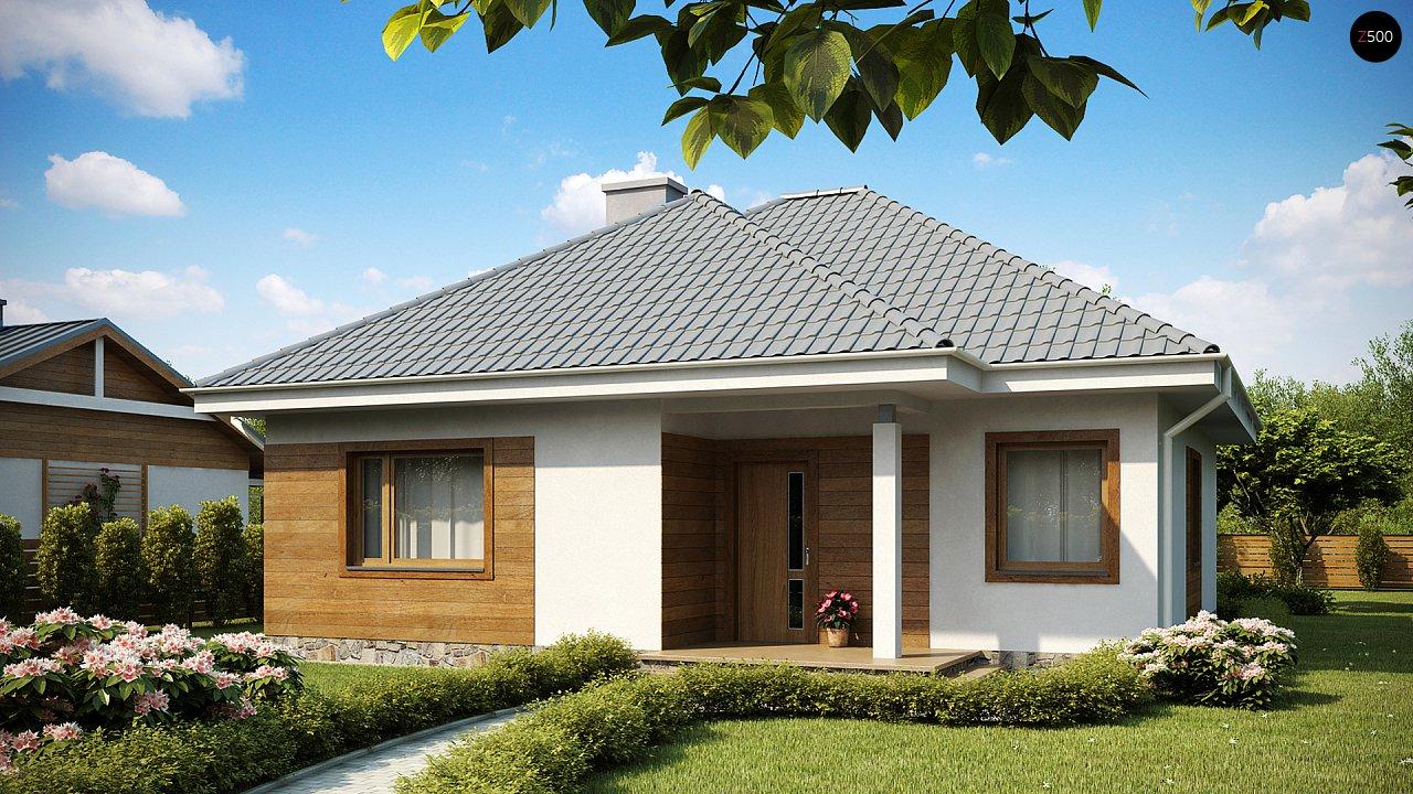 Проект одноэтажного практичного и уютного дома с крытой террасой. 2