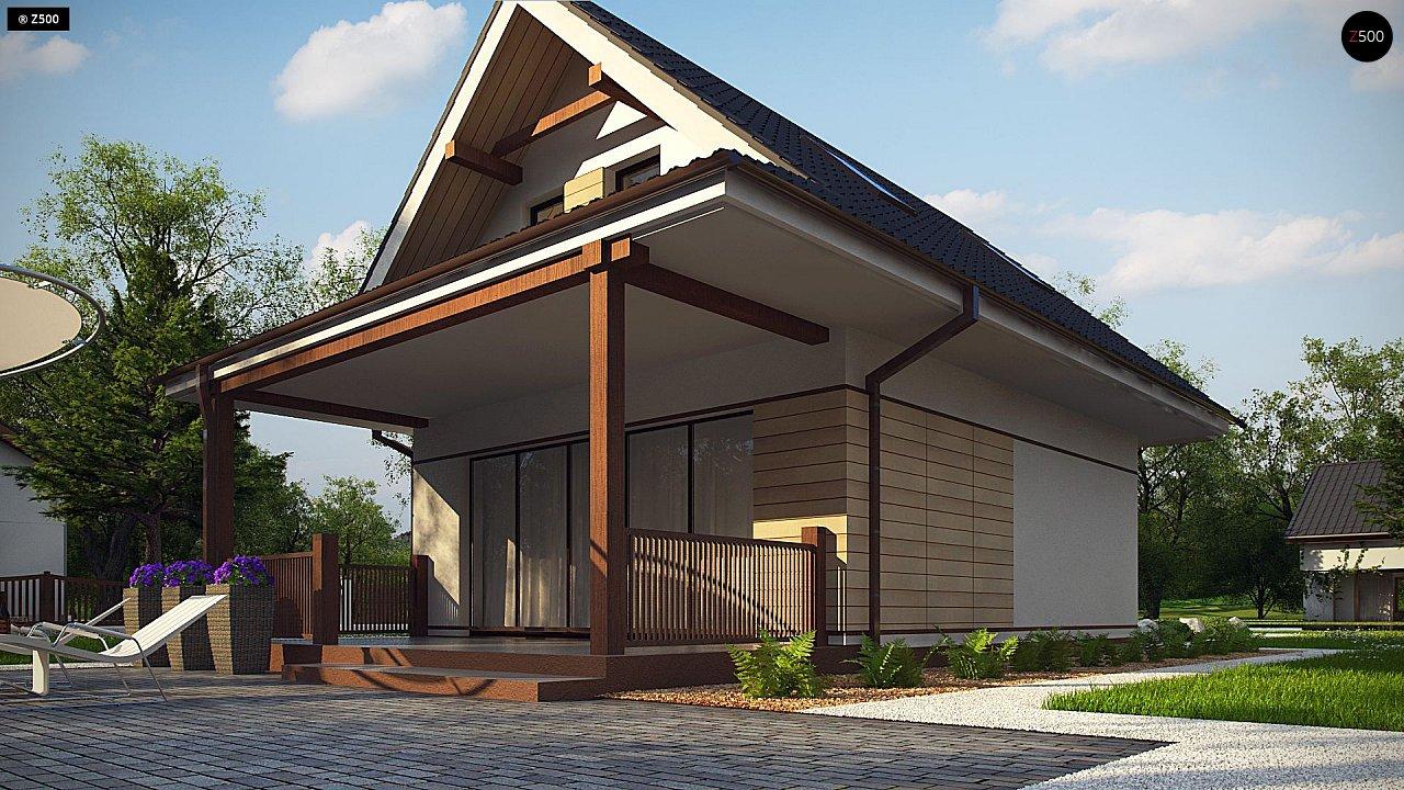 Небольшой мансардный дом с верандой, подойдет для строительства на узком участке. - фото 3