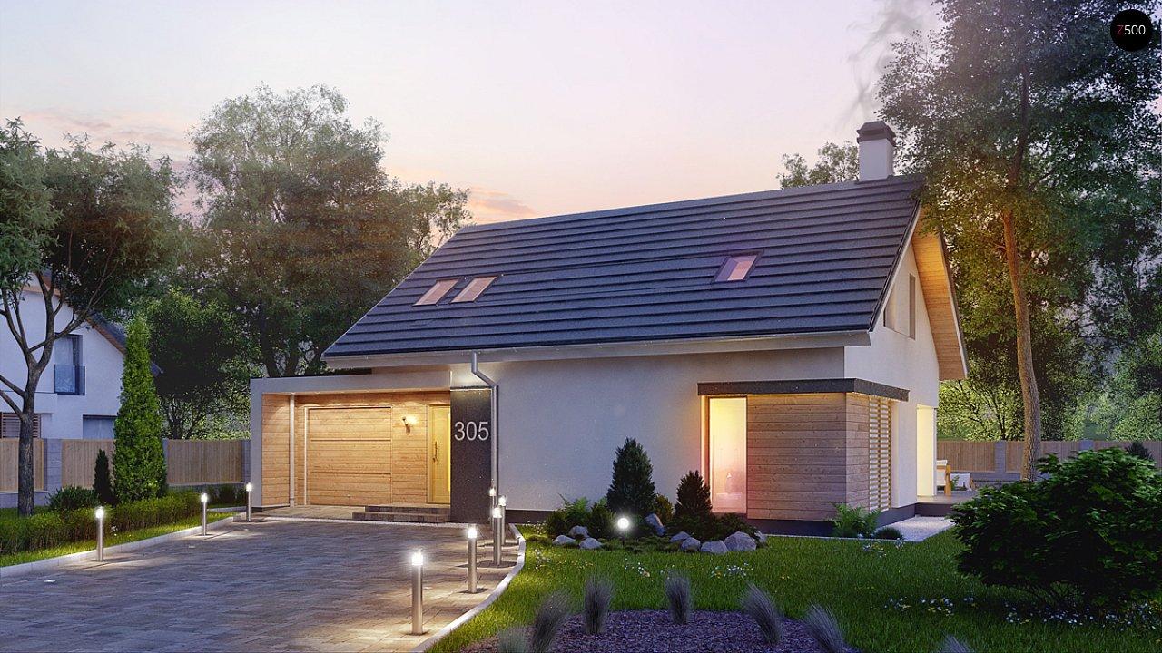 Дом с мансардой с гаражом с левой стороны для одной машины. 5