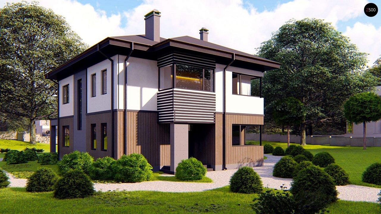 Проект двухэтажного просторного дома с панорамными окнами и камином. 1