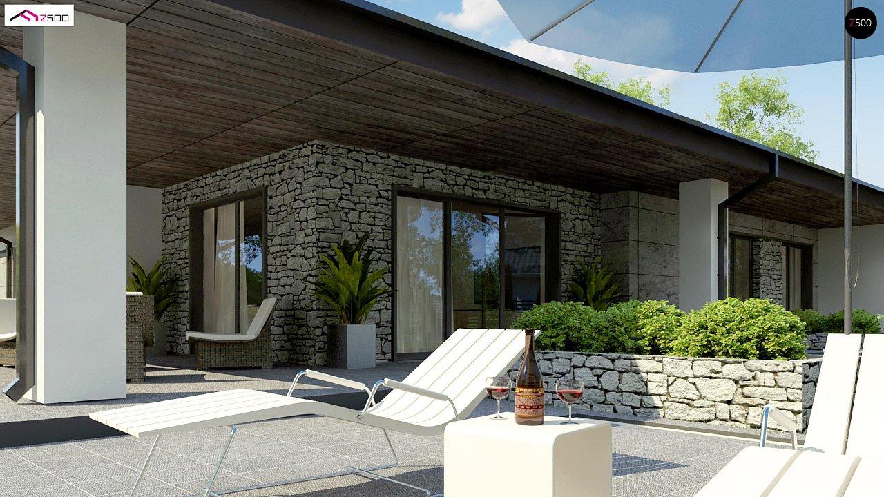 Одноэтажный дом с каменной облицовкой фасадов 5