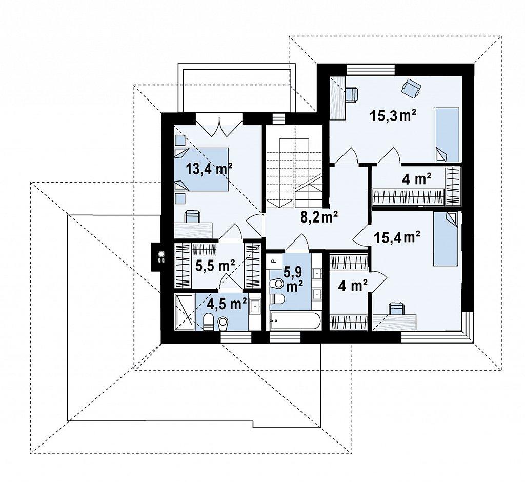 Вариант двухэтажного дома Z426 с многоскатной крышей план помещений 2